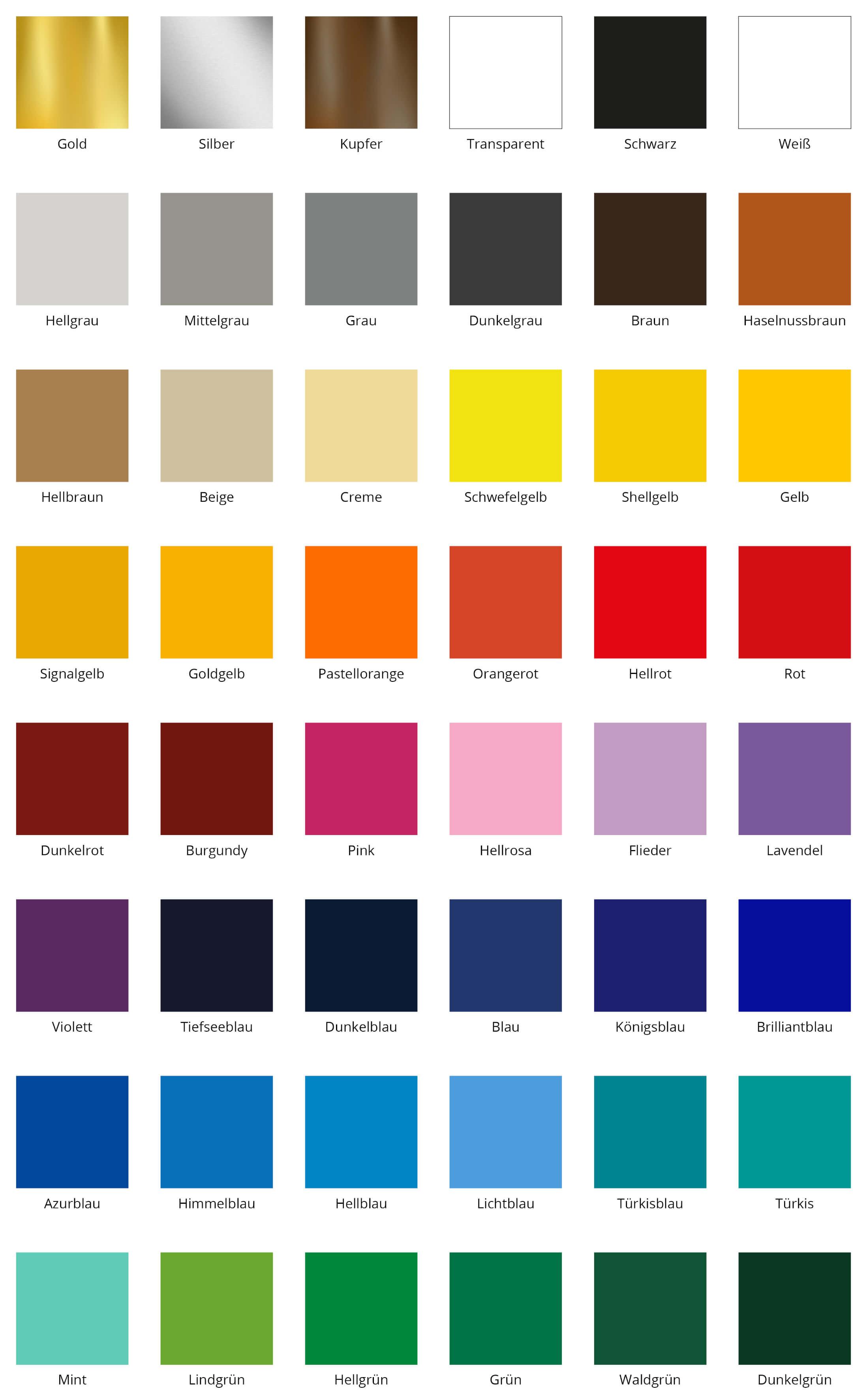 Farben für Namensaufkleber in 10cm